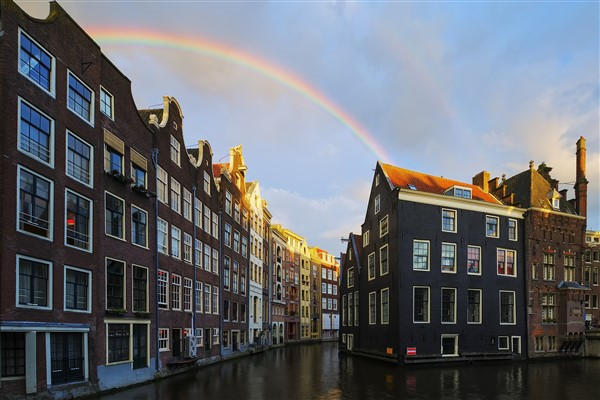 Amsterdam weather with rainbow